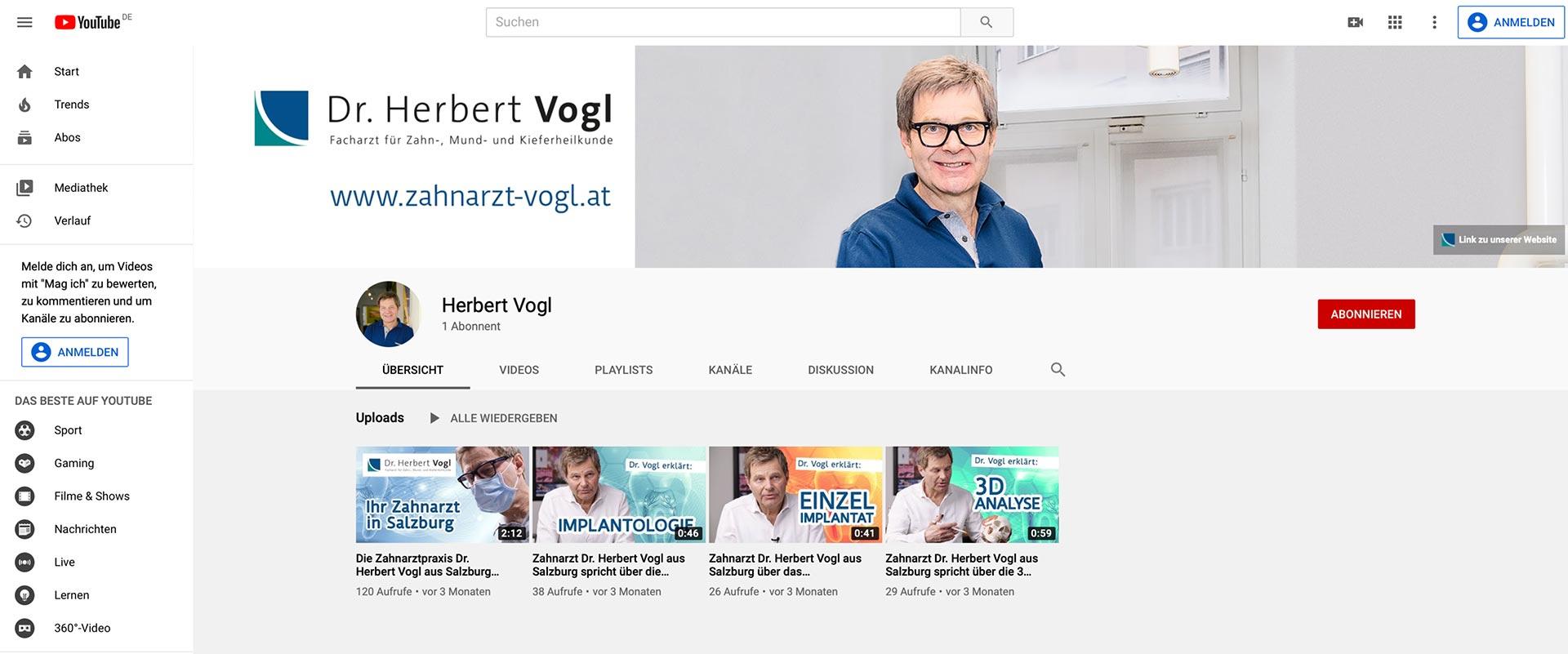 YouTube Kanal Zahnarzt Dr Vogl Salzburg